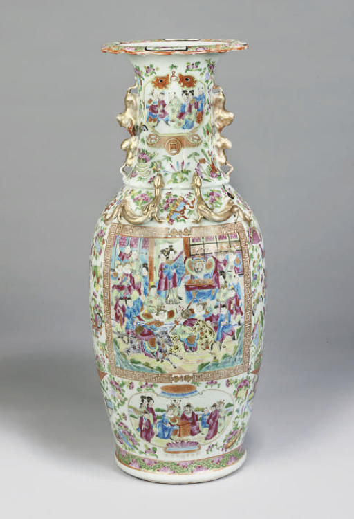A Cantonese famille rose baluster vase, 19th century