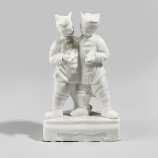 A Chinese blanc-de-chine group of two figures, 18th/19th Century