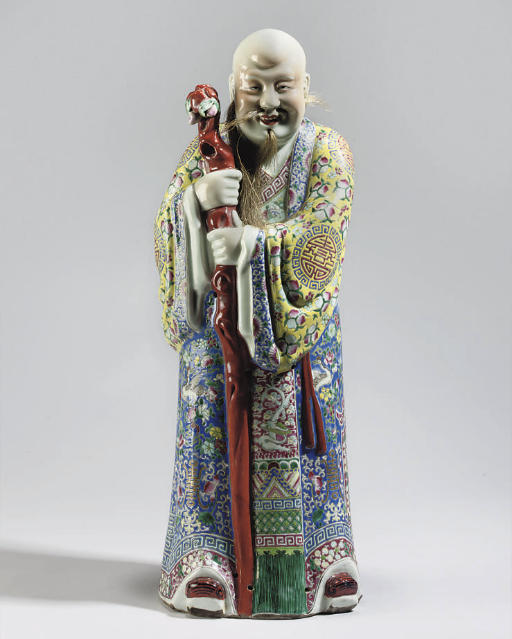 A large Chinese famille rose standing figure of Shoulao, 20th Century