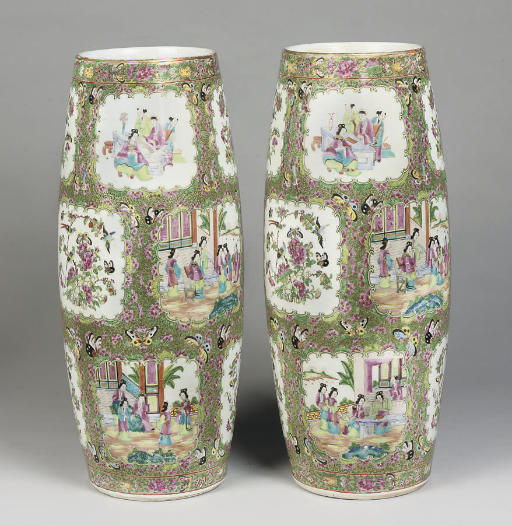 A pair of unusual large Cantonese famille rose vases, 19th century