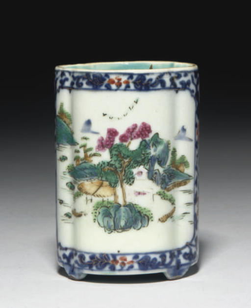 A Chinese famille rose quatrefoil brushpot, late Qianlong Jiaqing (1736-1820)