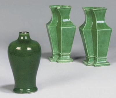 Three small Chinese green-glaz