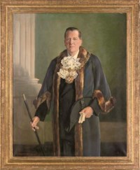 Portrait of Harold Dutton Podmore Esq., Sheriff of Lichfield, three-quarter-length, in official dress