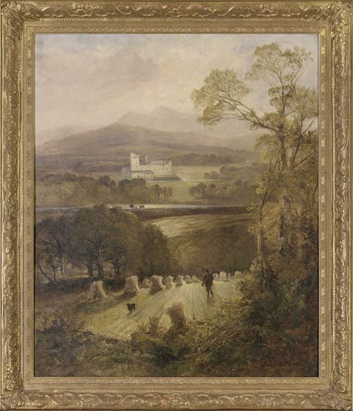 A gamekeeper and his dog with Balmoral Castle beyond