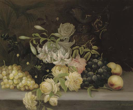 A gourd, white and black grapes, apples and a pear with a vase and a jug on a marble ledge; and Lillies and roses, hollyhocks, grapes and peaches, and a ewer, on a stone ledge