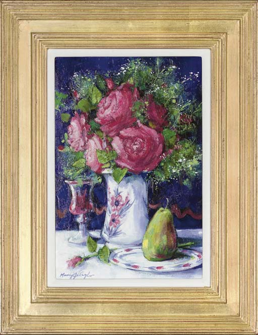Roses in a white vase with a glass of wine and a pear to the side, on a table