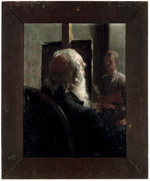The portrait sitting; and two unframed oils by the same hand