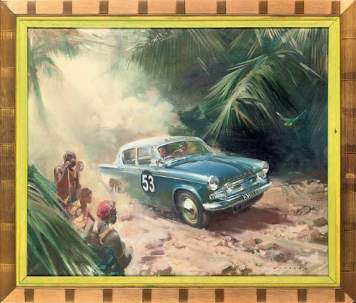 A blue Hillman Minx in the East African Rally