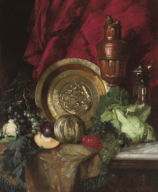 A salver, a copper ewer, a silver vessel, a cabbage, grapes, tomatoes, melons on a draped table.