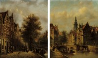 Before a bridge in Haarlem; and A busy street by a canal, Haarlem
