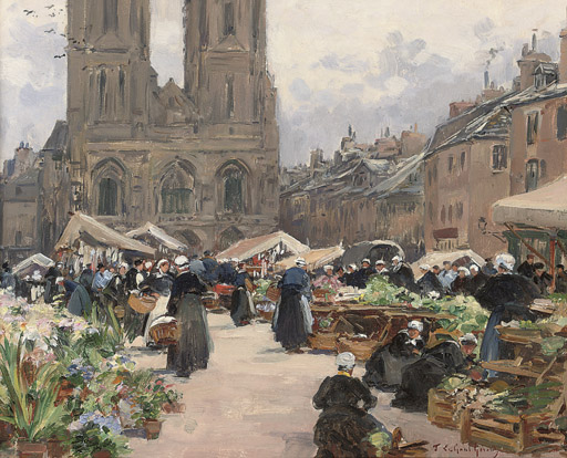 Marché près d'eglise de Notre-Dame, Saint Lô