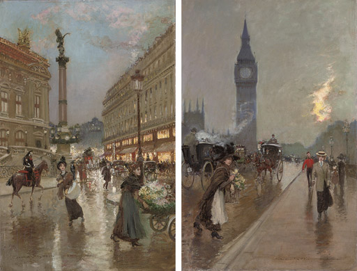 The Opera, Paris; and Westminster Bridge, London