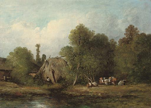 Cattle by a farmstead