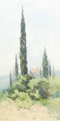 A villa amongst cypress trees, Corfu