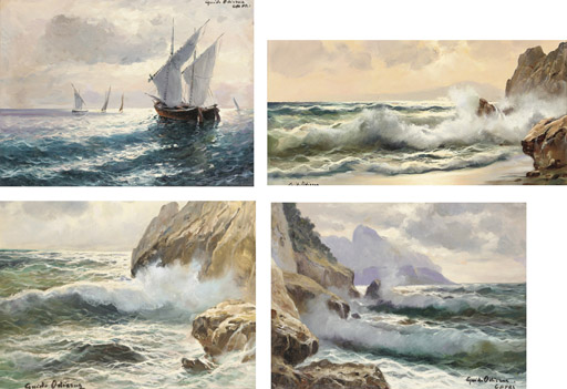 Waves breaking on the shore; and Fishing vessels off Capri
