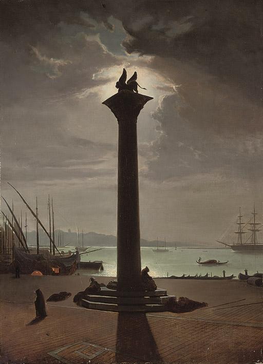 Figures sleeping at St. Mark's column, Venice