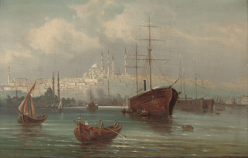 Trading vessels before a mosque on the Golden Horn