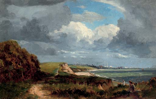 Figures on a coastal path, a town in the distance
