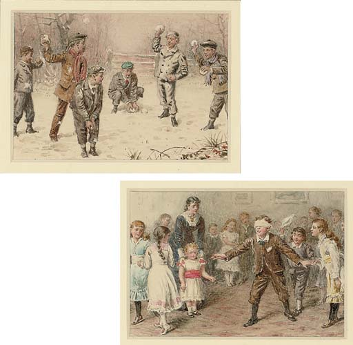 The snowball fight; and Blind man's buff