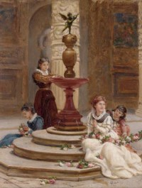 Girls making flower garlands beside a fountain
