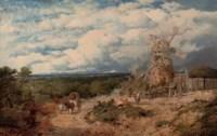Figures before a windmill, near Nottingham