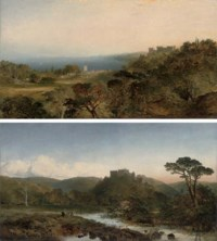 Dunster Castle, Somerset, looking west towards Dunkery Beacon, the river Anvill in the foreground; and Dunster Castle, from Grobfast Hill overlooking Blue Anchor Bay
