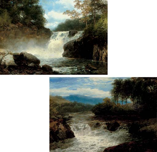 A wooded river landscape with waterfall; and Another similar