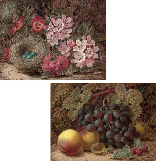 A bird's nest with pansies and hawthorn blossom; and Apples, grapes and greengages