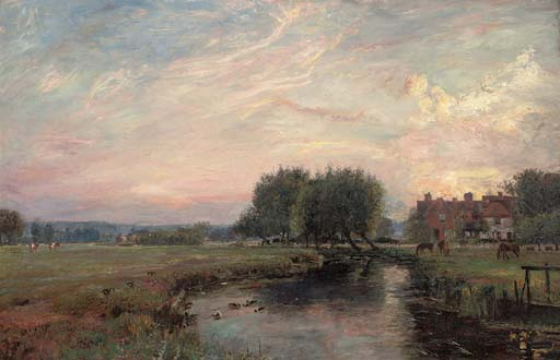 A peaceful river landscape at sunset