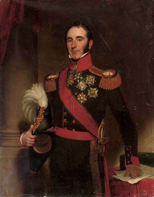 Portrait of Sir John Conroy, 1st Bt. (1786-1854), three-quarter-length, in the uniform of the Royal Artillery, holding a plumed helmet in his right hand, by a pillar