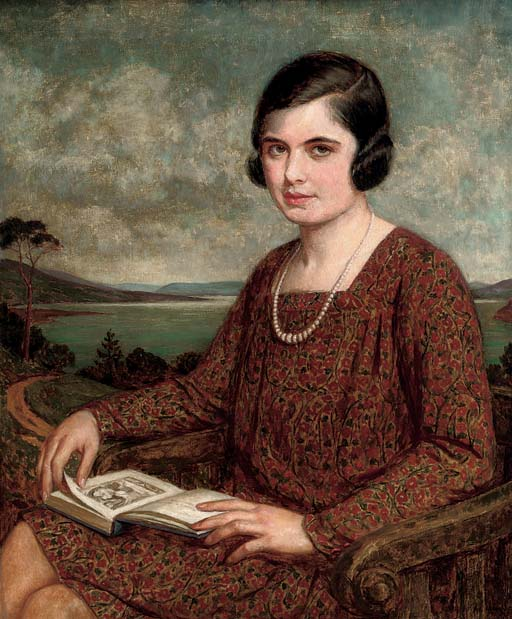 Portrait of a lady, seated three-quarter-length, a book on her lap, a landscape beyond