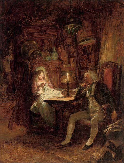 Little Nell and her grandfather in the Old Curiosity Shop