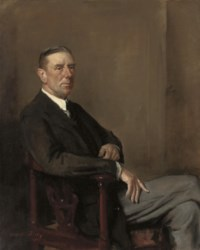 Portrait of a gentleman, seated three-quarter-length, in a black coat and grey trousers
