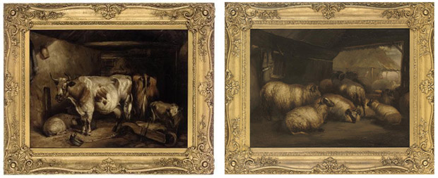 Sheep in a barn; and Cattle and sheep in a barn