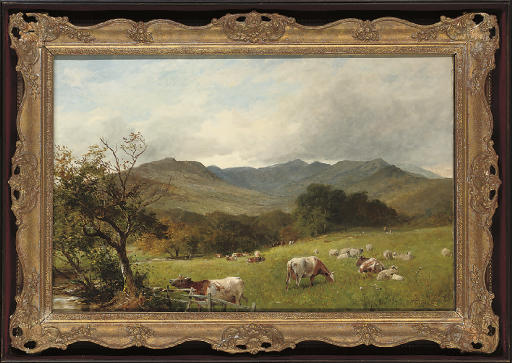 Cattle grazing before Rydal Fell, Westmorland