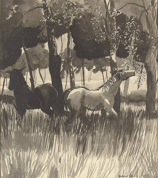 Two horses grazing in the meadow