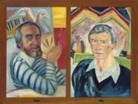 Portrait of Alexander Moffat by John Bellany; Portrait of John Bellany by Alexander Moffat