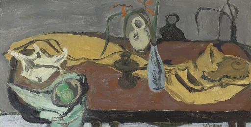 Still life; Yellow Cloth & Blue Vase