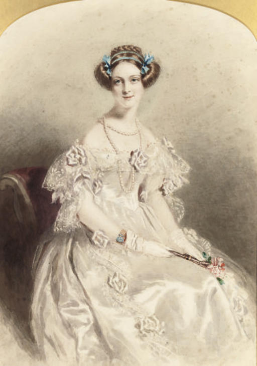 Portrait of a lady, three-quarter-length, dressed for a ball