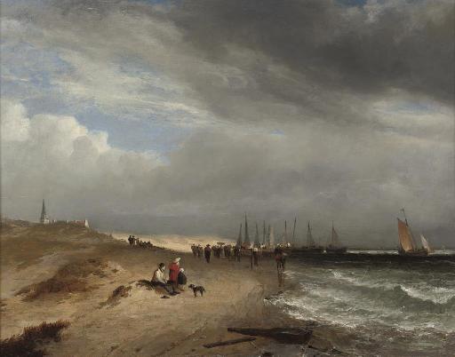 Figures on the beach at Scheveningen watching the fishing fleet return