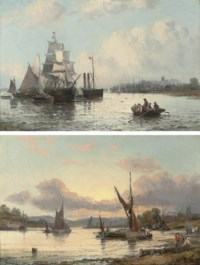 A paddle steamer and other shipping on a river estuary; and River traffic at dusk (both illustrated)