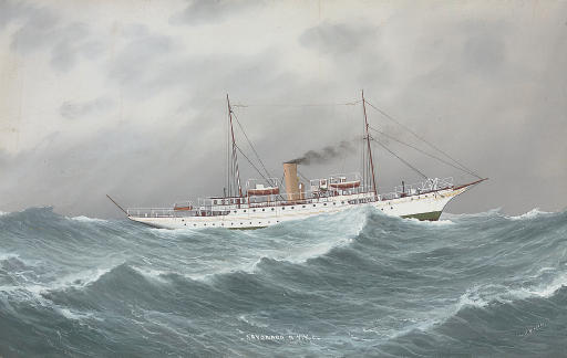 The New York Yacht Club's steam yacht Sayonara at sea