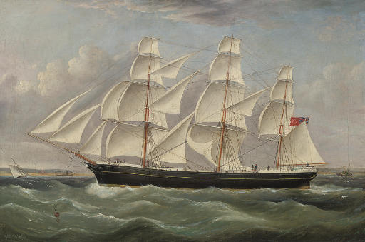 A British merchantman under full canvas in a stiff breeze