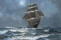 The clipper Argonaut running free in the moonlight