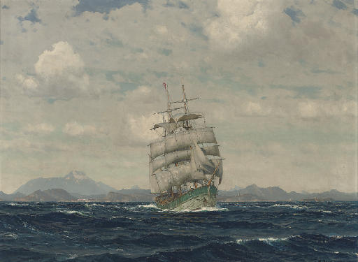A windjammer under full sail in the Aegean Sea before Imbros