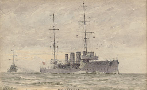 H.M.S. Bellona on exercise at sea (illustrated); and H.M.S. Indefatigable at sea