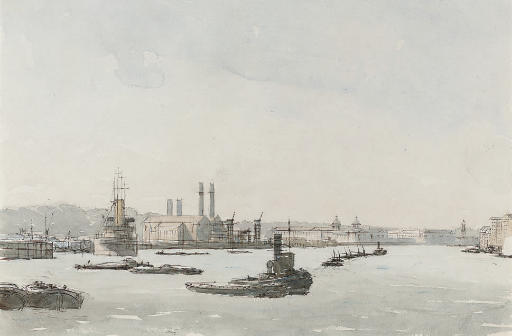 Shipping on the Thames before Greenwich Hospital