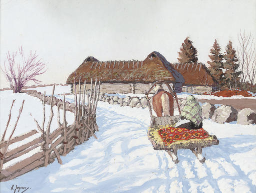 A troika before a farmstead in the snow
