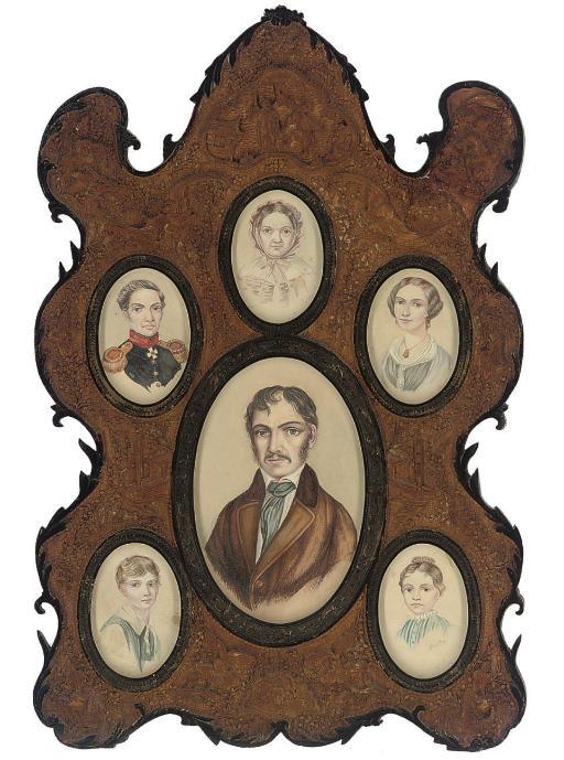 A family group of six miniature portraits