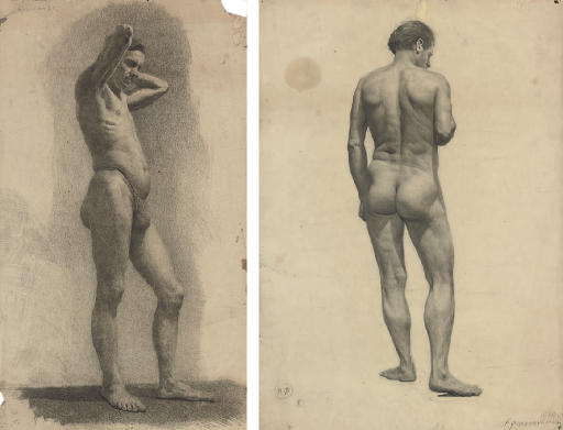 A male nude from the side; and A male nude from the back